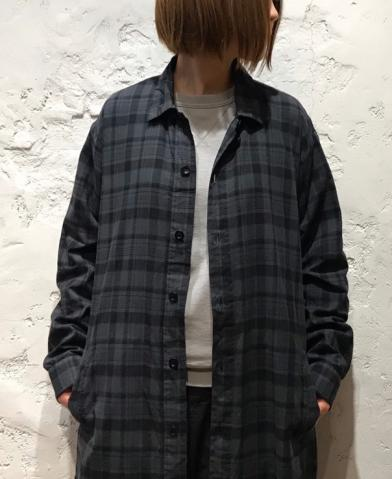 HTS 〜MADRAS CHK OVERDYE WORK BUTTON LONG SHIRT〜