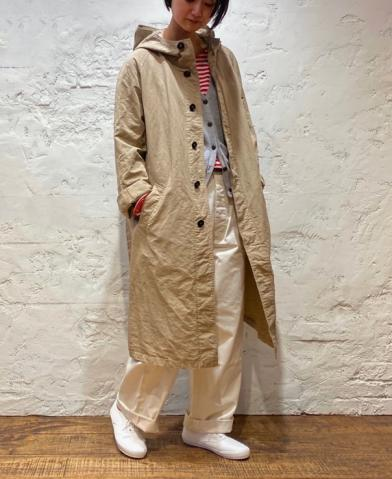 HTS  ~COTTON LINEN HOODED COAT ~