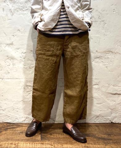 ARMEN ~  LINEN HERRINGBONE ONE-TUCK CROPPED PANTS~