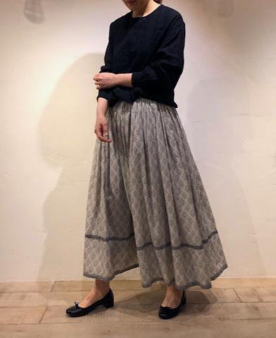 maison de soil -FLOWER BLOCK PRINT EASY SKIRT