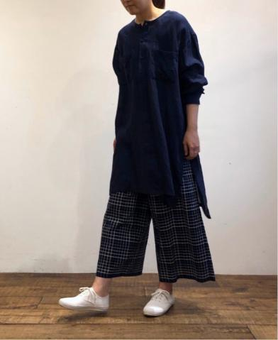 maison de soil KHADI CHECK EASY PANTS