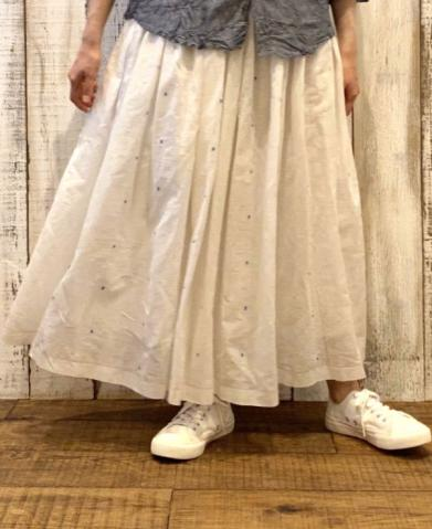 maison de soil COTTON JAMDANI DOT GATHERED SKIRT