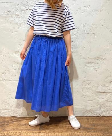 maison de soil HAND WOVEN COTTON SILK STRIPE SKIRT