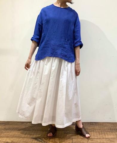 maison de soil BLUE BLOUSE & WHITE SKIRT