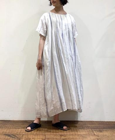 maison de soil LINEN STRIPE S/SL DRESS