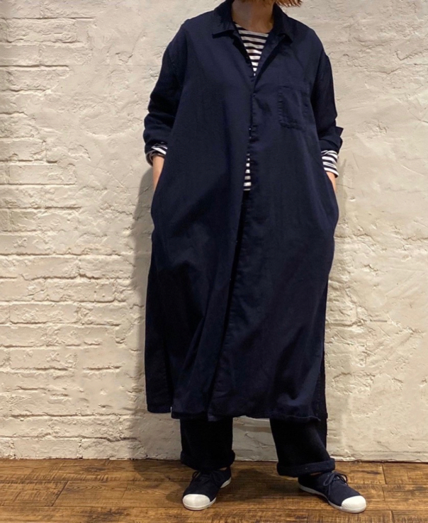 HTS 〜COTTON TWILL OVERDYE ONE-UP COLLAR LONG SHIRT〜