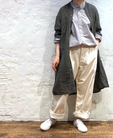 ARMEN 〜 DOUBLE GAUZE OVER DYE UTILITY BANDED COLLA…