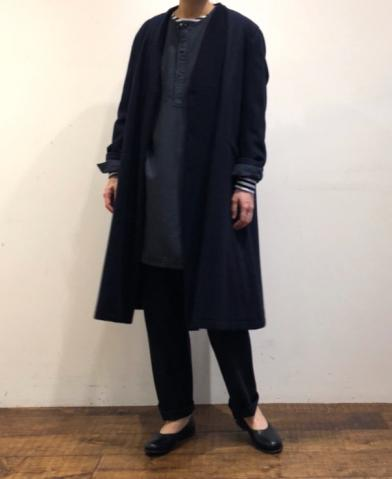 maison de soil WOOL V-COLLAR COAT - NAVY -