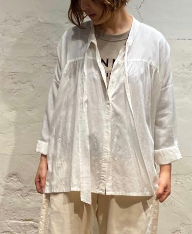 SOIL 〜FRENCH RAYON BOW TAI GATHER SHIRT〜