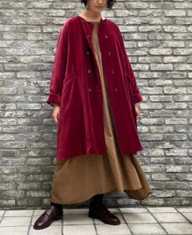 maison de soil COTTON VELOUR NO COLLAR DOUBLE COAT