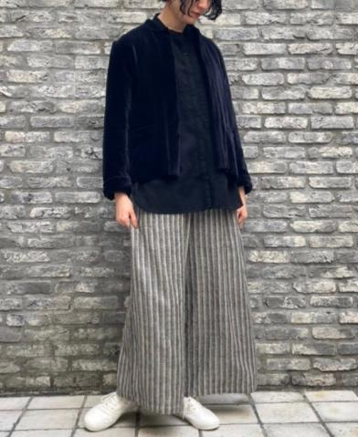 maison de soil WOOL HERRINGBONE STRIPE EASY PANTS