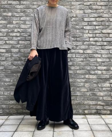 maison de soil WOOL HERRINGBONE STRIPE BACK OPENIN…