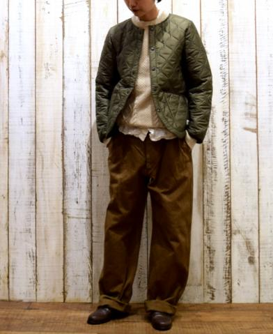 ARMEN〜 W-FACE PLAIN HEAT QUILT NO COLLAR JACKET〜