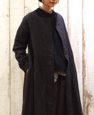 SOIL〜WOOL LINEN CHECK DOUBLE BUTTON DRESS〜