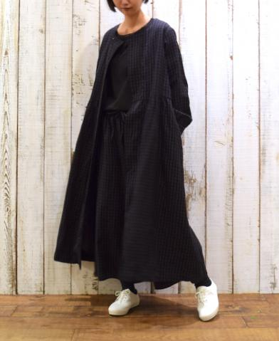 SOIL 〜WOOL LINEN CHECK DOUBLE BUTTON DRESS〜