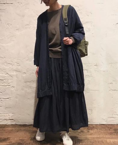 SOIL〜60'S COTTON TWILL FLY FRONT V-NECK SMOCK〜
