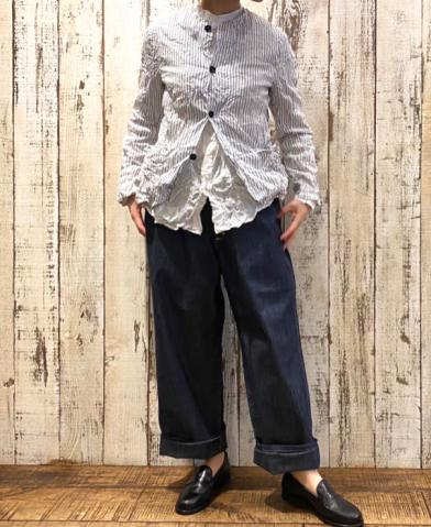 Vas-y Lentement 〜PRINTED CAMBRIC NO COLLAR JACKET〜