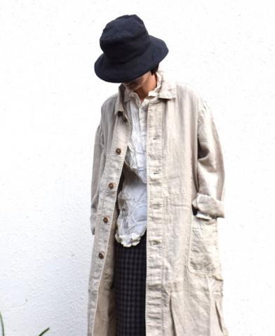 ARMEN 〜 LINEN HERRINGBONE OVER-SIZED WORK COAT WIT…