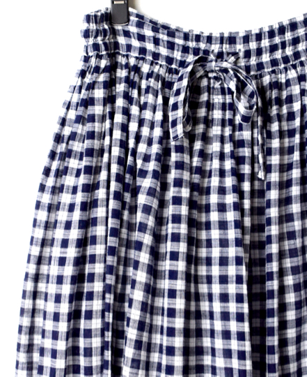 NSL20055 COTTON FANCY GINGHAM CHECK GATHERED SKIRT