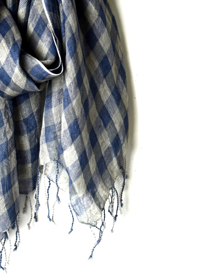 NSL18033 60'S LINEN GINGHAM CHECK STOLE