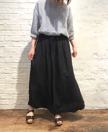 NAM1912LP LINEN PLAIN EASY GATHERED SKIRT