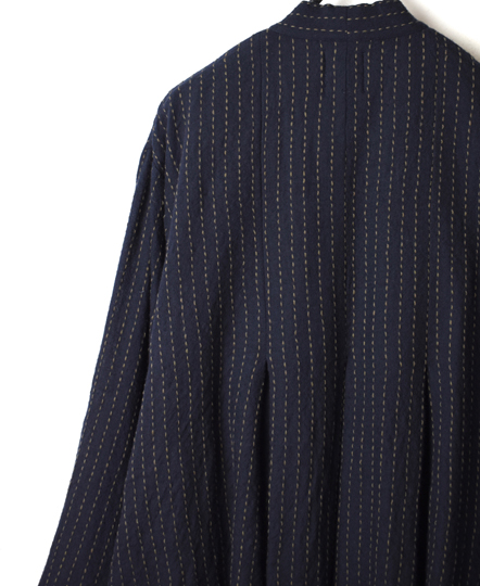 NMDS19571 WOOL PLAIN JACQUARD INVERTED PLEAT SHIRT