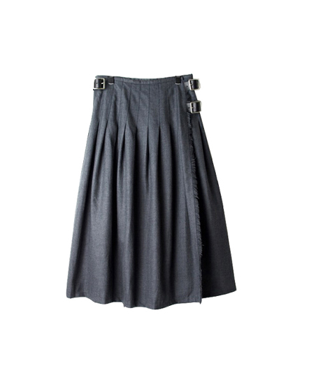 NOD0853 WORSTED WOOL LOW WAIST PLEATS WRAP SKIRT