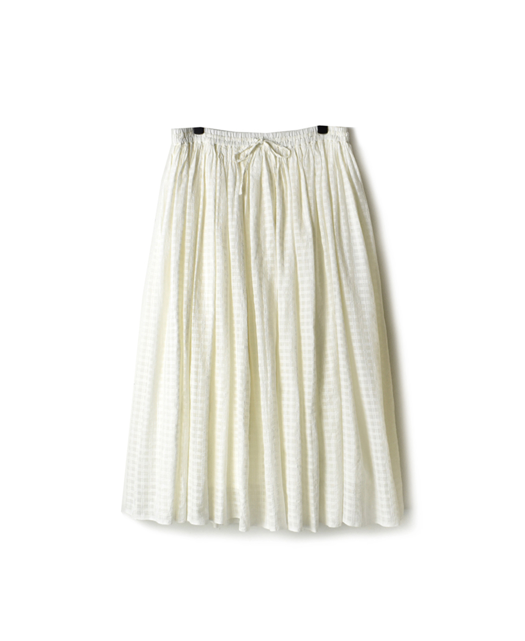 INMDS19704 HAND WOVEN SELF CHECK GATHERED SKIRT