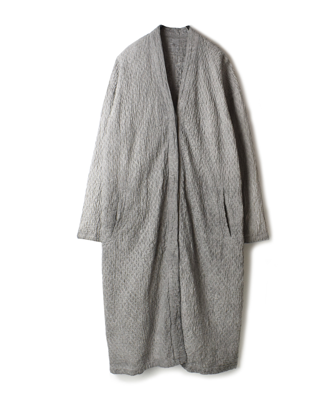 NMDS20002 POWER LOOM LINEN SMALL QUILT V-NECK COAT