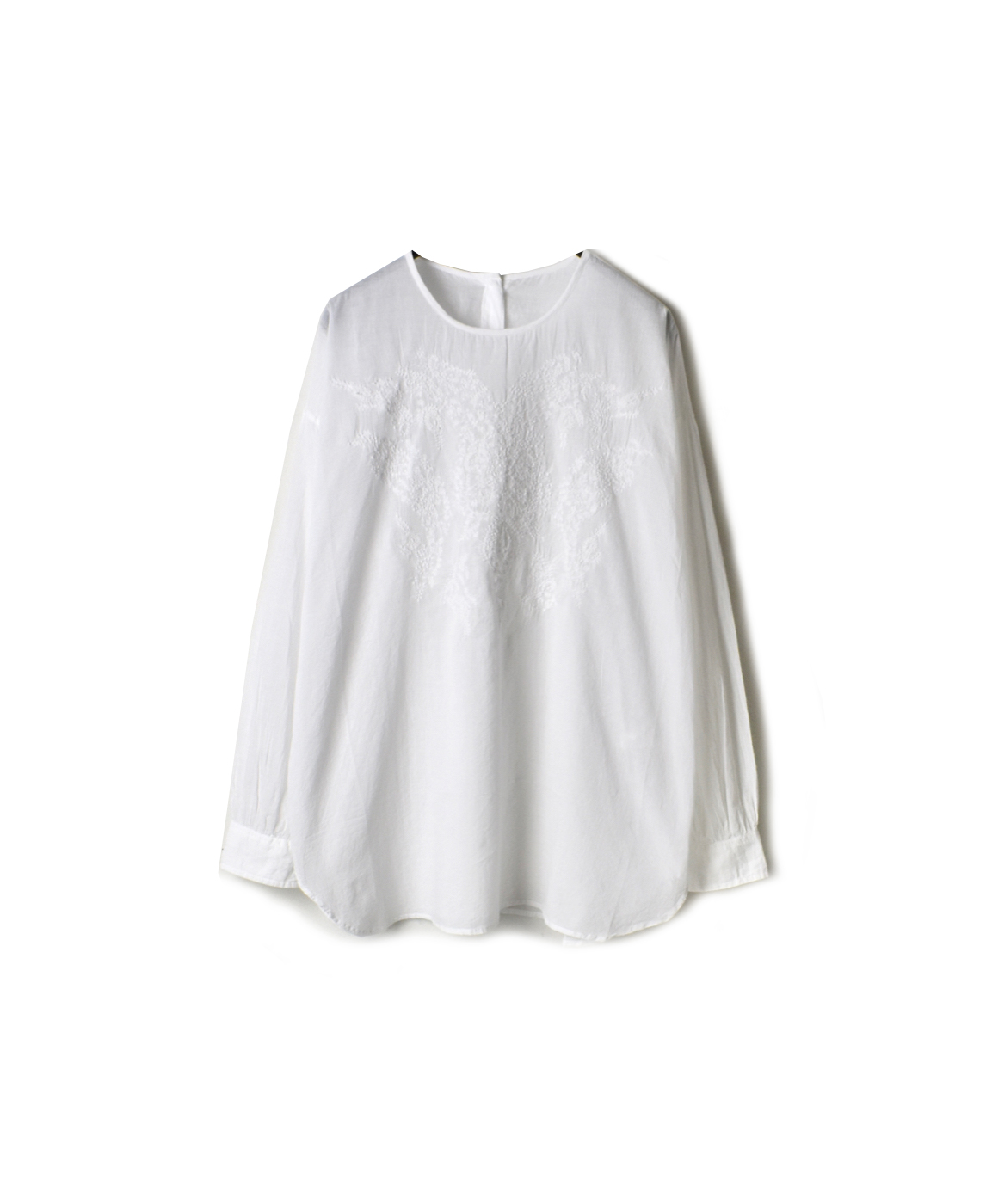 NMDS20081 ORGANIC VOILE BACK OPENING CREW-NECK EMB SHIRT