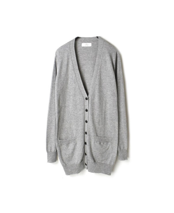 GNSL20013 COTTON PLAIN V-NECK LONG CARDIGAN