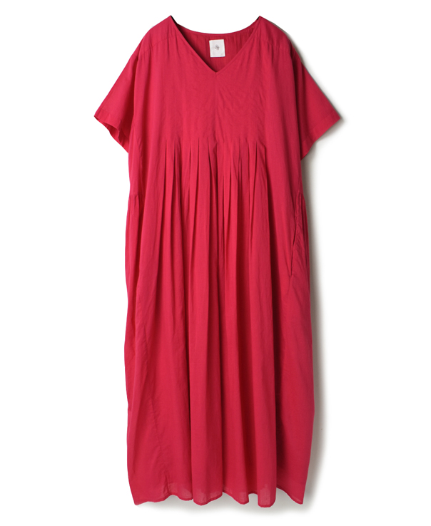 NMDS20072 80'S ORGANIC VOILE PLAIN INVERTED PLEAT V-NECK S/SL DRESS WITH LINING