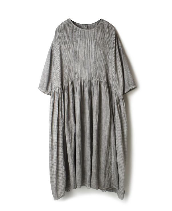 NMDS20042H ORGANIC PATCHWORK HAND DYE CREW-NECK P/O HALF/SL DRESS WITH MINI PINTUCK