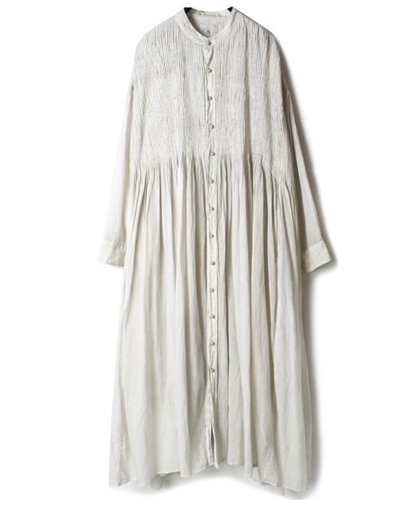 NMDS20054H 80'S ORGANIC STRIPE(HAND DYED) BANDED SHIRT DRESS WITH MINI PINTUCK