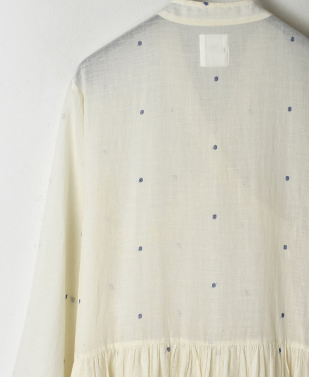 INMDS20122 COTTON JAMDANI DOT PATTERN CACHE COEUR DRESS