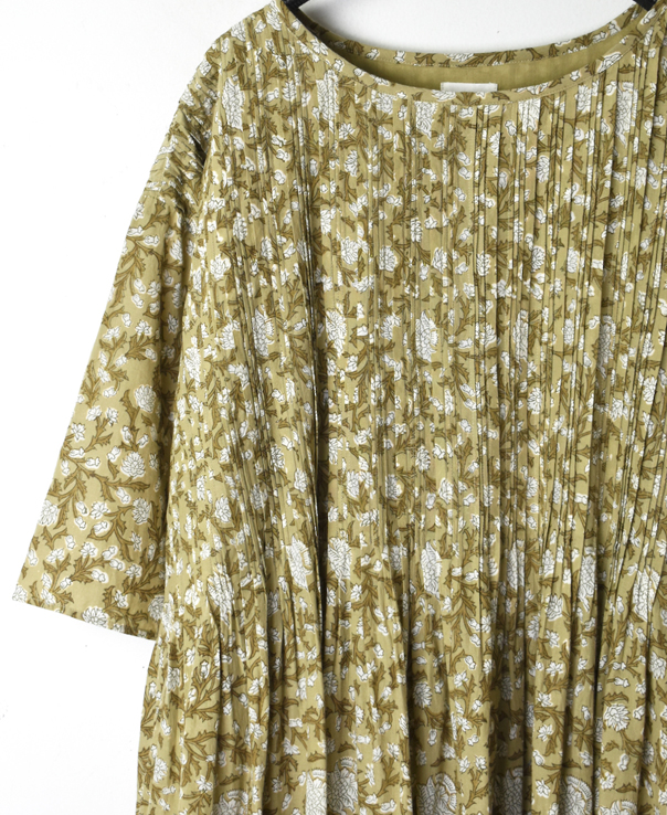 INMDS20152 80'S VOILE FLOWER BLOCK PRINT RANDOM PLEATS HALF/SL PULLOVER WITH LINING