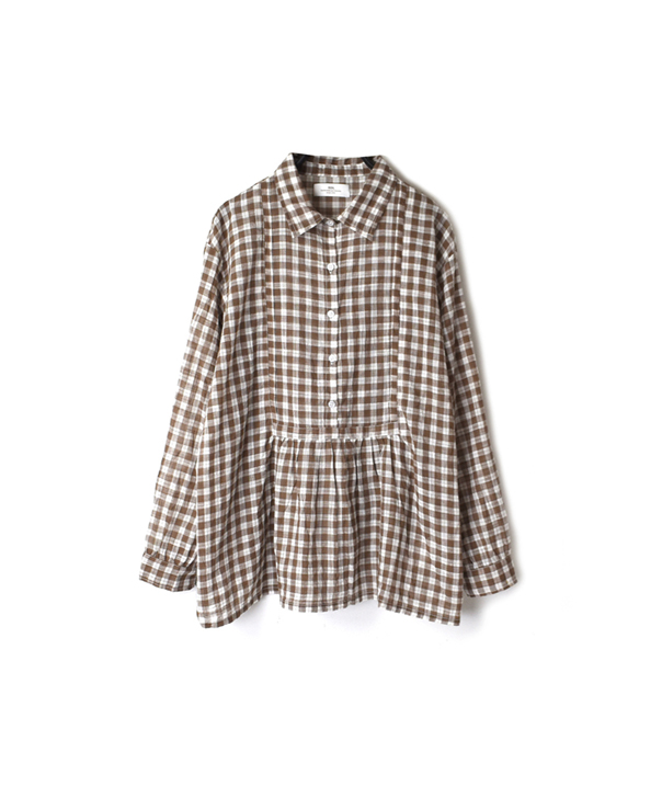 NSL20051 COTTON FANCY GINGHAM CHECK REGULAR COLLAR FRONT GATHERED SHIRT