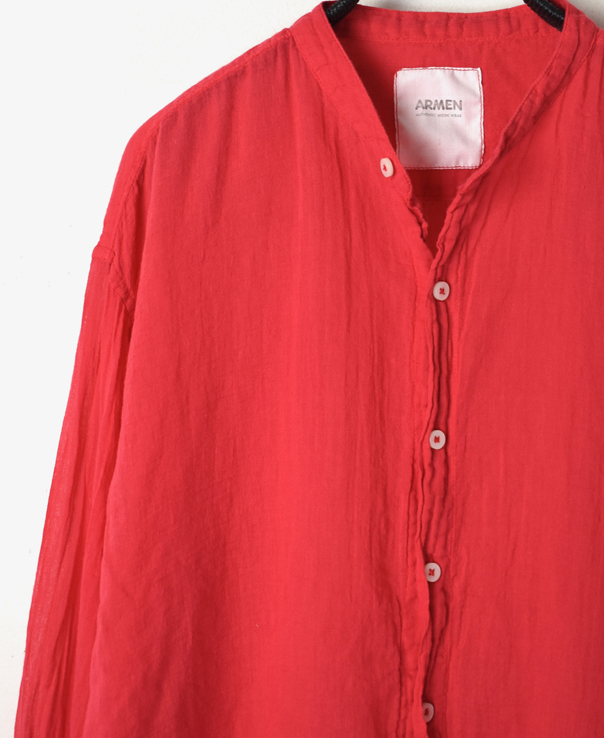 INAM1702GD 60'S SINGLE GAUZE UTILITY BANDED COLLAR SHIRTS