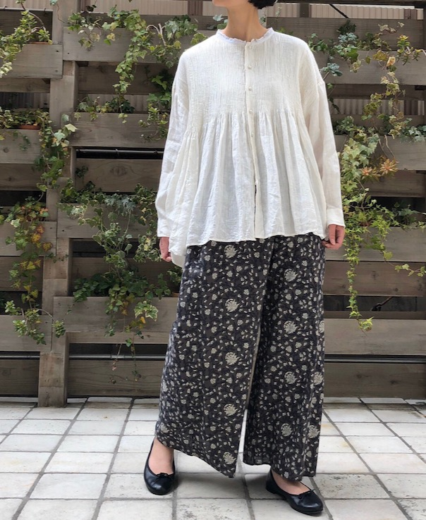 INMDS20155 80'S VOILE FLOWER BLOCK PRINT EASY PANTS WITH LINING