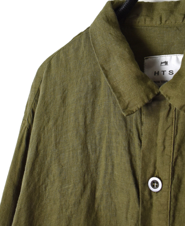 NHT1401L LINEN OVERDYE WORK BUTTON LONG SHIRT