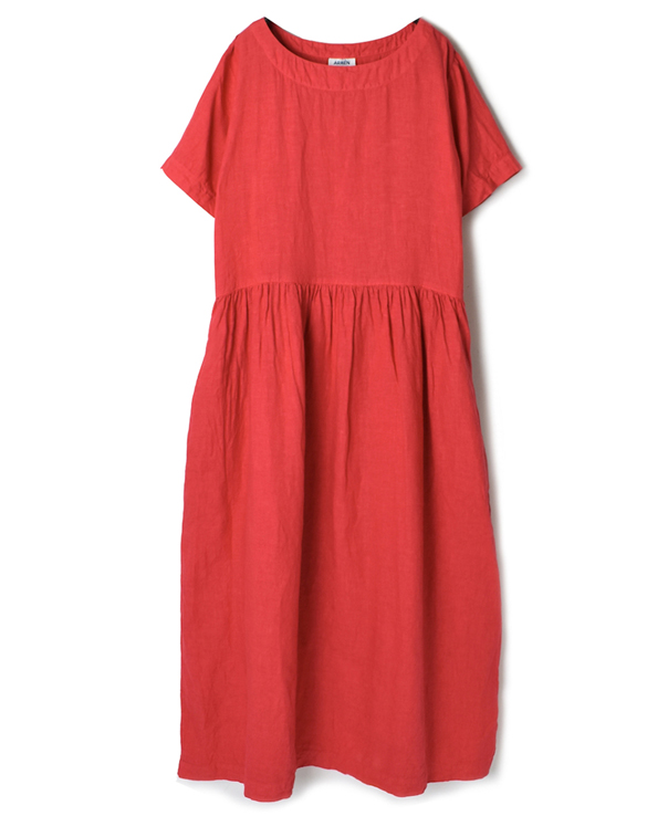 NAM1632LP LINEN PLAIN BOAT NECK S/SL ONE-PIECE