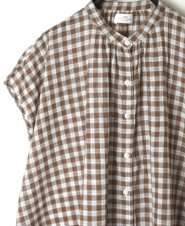 NSL20052 FANCY GINGHAM CHECK BANDED COLLAR FRENCH/SL SHIRT