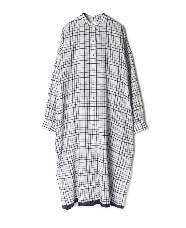 INMDS20114 100'S KHADI CHECK WITH SELVAGE BANDED COLLAR MAXI SHIRT