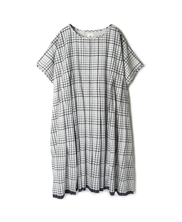 INMDS20113 100'S KHADI CHECK WITH SELVAGE INVERTED PLEAT DRESS WITH LINING