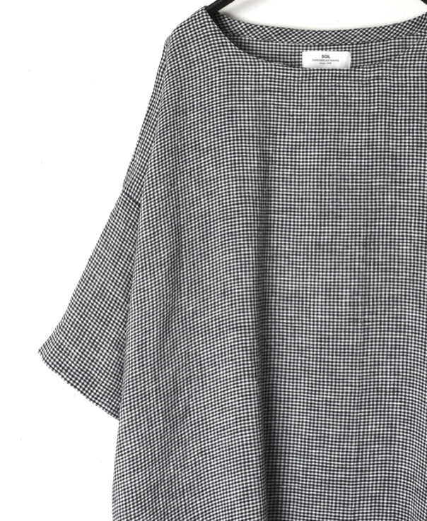 INSL20213 60'S POWER LOOM LINEN MINI STRIPE & MICRO CHECK BACK SIDE GATHERED DRESS