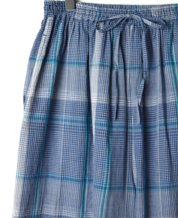 INSL20226 80'S VOILE YARN DYED CHECK WIDE EASY PANTS