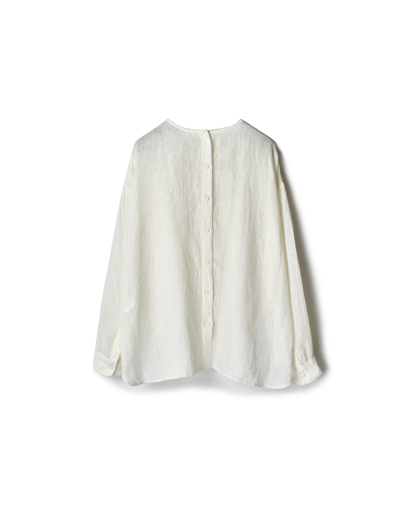 NMDS20021 80'S POWER LOOM LINEN WITH EMB BACK OPENING CREW-NECK EMB SHIRT