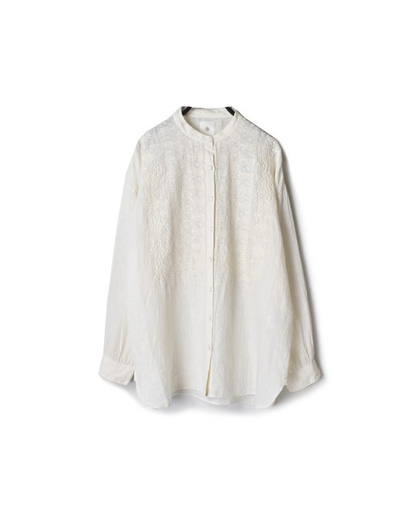 NMDS20023 80'S POWER LOOM LINEN WITH EMB BANDED COLLAR EMB SHIRT