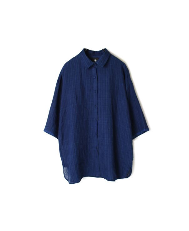 INMDS20192 80'S HAND WOVEN YARN DYED NATURAL INDIGO LINEN STRIPE REGULAR COLLAR S/SL SHIRT