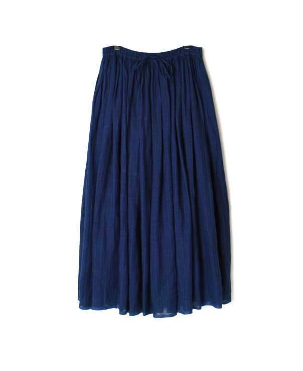 INMDS20195 80'S HAND WOVEN YARN DYED NATURAL INDIGO LINEN STRIPE RAJASTHAN TUCK GATHERED SKIRT WITH LINING